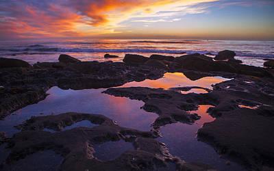 San Diego Artist Digital Art - Ocean Beach Sunset  by Kenny  Noddin