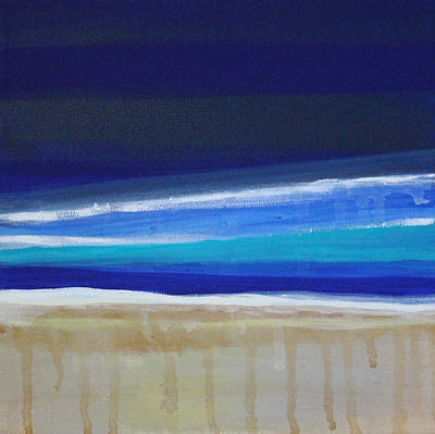 Abstract Beach Landscape Painting - Ocean Blue by Linda Woods