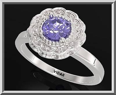 Custom Engagement Ring Jewelry - Ocean Blue Sapphire Sterling Silver Engagement Ring - Statement Flower Ring by Roi Avidar