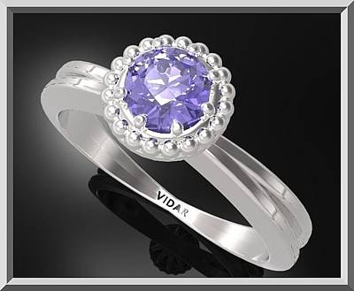Floral Engagement Ring Jewelry - Ocean Blue Sapphire Sterling Silver Engagement Ring With Little Silver by Roi Avidar