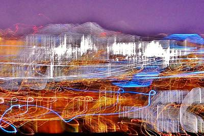 Photograph - Ocean City By Night - Abstract Purple by Kim Bemis