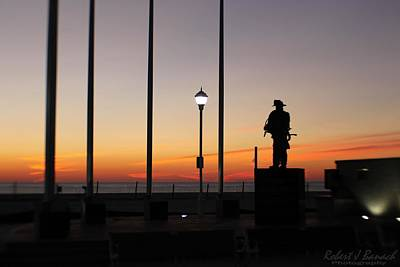 Photograph - Ocean City Firefighter's Memorial At Sunrise by Robert Banach