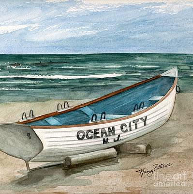 Painting - Ocean City Lifeguard Boat 2  by Nancy Patterson