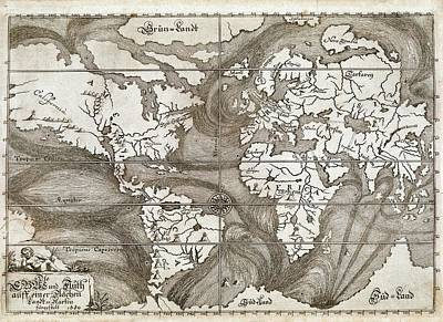 Ulm Photograph - Ocean Currents Global Map by British Library
