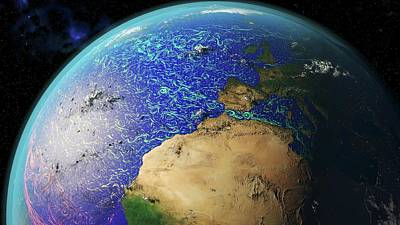 Ocean Currents Off Africa And Europe Art Print by Karsten Schneider