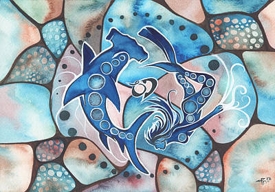 Reef Shark Wall Art - Painting - Ocean Defender by Tamara Phillips