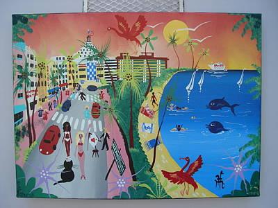 Sunset Strip Wall Art - Photograph - Ocean Drive, Miami Beach, 2010-12 Acrylic On Canvas by Herbert Hofer