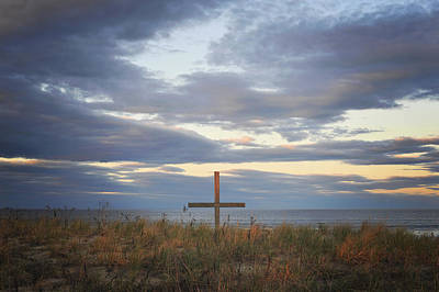Photograph - Ocean Grove Nj Beach Cross by Terry DeLuco