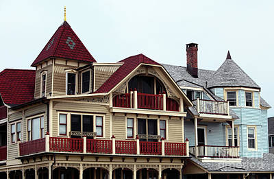 Old School House Photograph - Ocean Grove Victorian Houses by John Rizzuto
