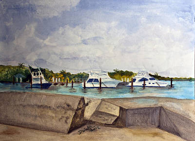 Plein Painting - Ocean Inlet Marina by Donna Walsh