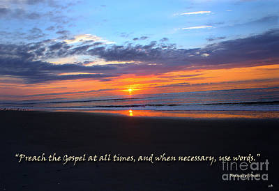 Photograph - Ocean Isle Beach Sunset - Scripture Art  by Sandra Clark