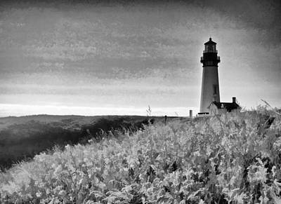 Photograph - ocean Lighthouse Black And White by Steve McKinzie