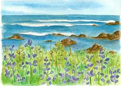 Drawing - Ocean Lupines  by Cathie Richardson