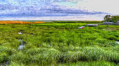 Row Boat Digital Art - Ocean Marsh by Rick Mosher