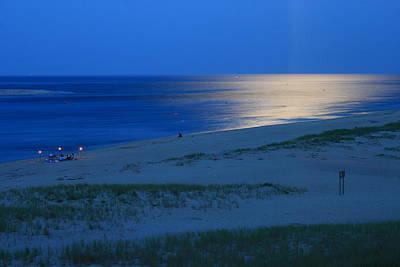 Chatham Lighthouse Photograph - Moonlit Ocean Lighthouse Beach Chatham Cape Cod by John Burk