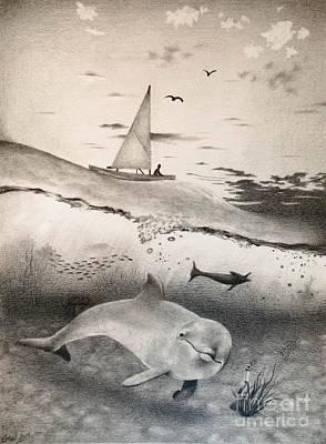 Seaweed Drawing - Ocean Morning by Emily Wickerham
