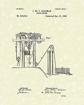 Drawing - Ocean Motor 1889 Patent Art by Prior Art Design