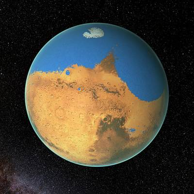 Astrogeological Photograph - Ocean On Early Mars by Nasa's Goddard Space Flight Center