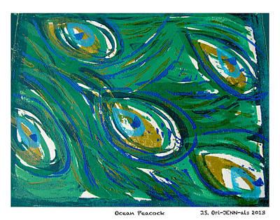 Ocean Peacock Art Print by Jennifer Schwab