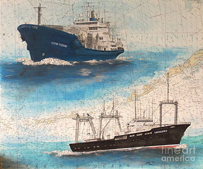Ocean Phoenix And Excellence Boat Nautical Chart Map Art Art Print by Cathy Peek