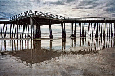 Photograph - Ocean Pier And Wet Sands by Leda Robertson