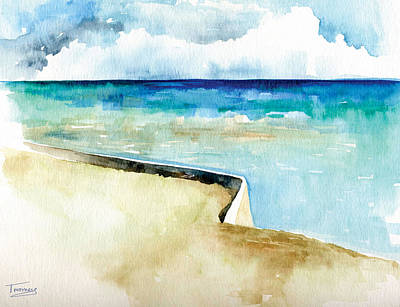 Cerulean Blue Painting - Ocean Pier In Key West Florida by Catherine Twomey
