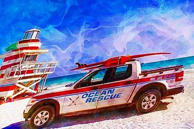 Digital Art - Ocean Rescue Truck by Carrie OBrien Sibley