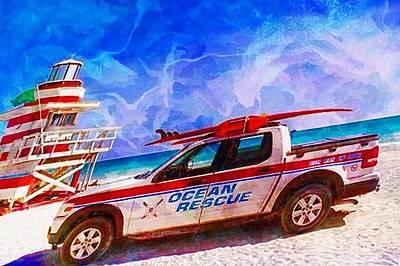 Digital Art - Ocean Rescue Truck by Carrie OBrien Sibley