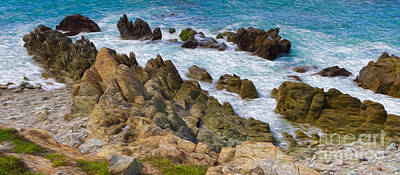 Digital Art - Ocean Rocks In Puerto Vallarta Mexico by Kenneth Montgomery