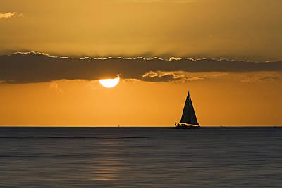 Sunset Sailing Photograph - Ocean Sailing Sunset - Abstract by Patrick Jacquet
