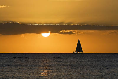 Sunset Sailing Photograph - Ocean Sailing Sunset by Patrick Jacquet