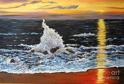 Painting - Ocean Spray At Sundown by Connie Tom