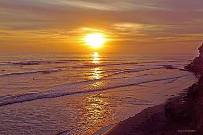 Ocean Sunset Breeze - Metaphysical Healing Energy Art Print Art Print by Alex Khomoutov