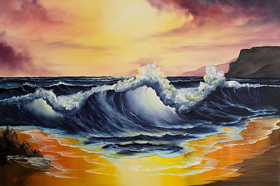 Bob-ross-style Painting - Ocean Sunset by C Steele