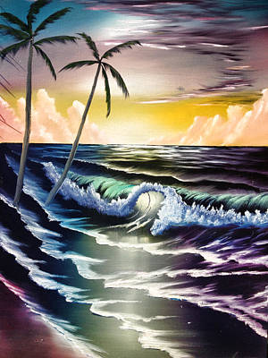 Bob Ross Painting - Ocean Sunset by Koko Elorm