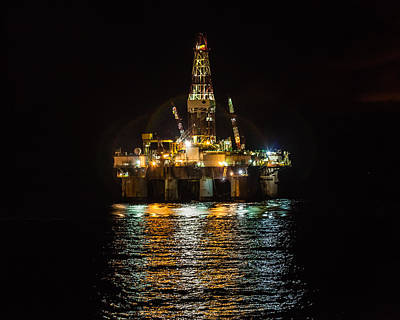 Photograph - Ocean Valiant Semi Submersible Drill Rig by Gregory Daley  PPSA