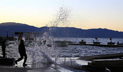 Photograph - Ocean Wave Splash Human Silhouette by Brch Photography