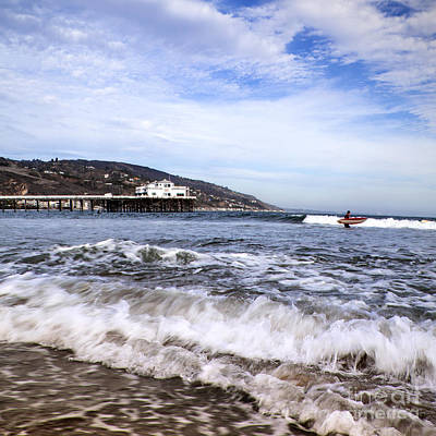 Photograph - Ocean Waves Blue Sky And A Surfer At Malibu Beach Pier by Jerry Cowart