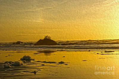 Ocean Yellow Art Print by Nur Roy