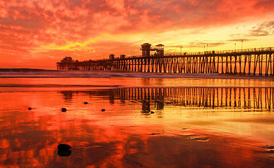 Art Print featuring the photograph Oceanside Fire by Robert  Aycock