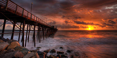 Photograph - Oceanside Pier Perfect Sunset -ex-lrg Wide Screen by Peter Tellone