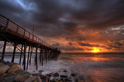 Watercolor Typographic Countries - Oceanside Pier Perfect Sunset by Peter Tellone