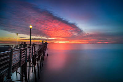 Long Exposure Photograph - Oceanside Pier Sunset 16 by Larry Marshall
