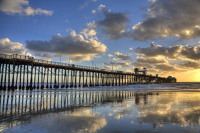 High Dynamic Range Photograph - Oceanside Pier Sunset Reflection by Peter Tellone