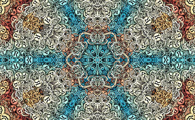 Kaleidoscope Digital Art - Oceanus S01-08 by Variance Collections