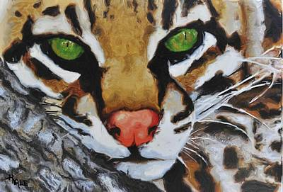 Painting - Ocelot On Limb by Roger D Hale