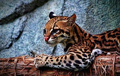 Photograph - Ocelot Painted by Judy Vincent