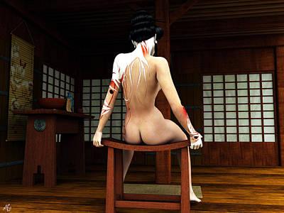 Geisha Digital Painting - Ochaya Geisha by Maynard Ellis
