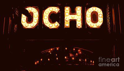 Digital Art - Ocho San Antonio Restaurant Entrance Marquee Sign Over Chandelier Cutout Digital Art by Shawn O'Brien