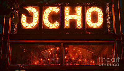 Photograph - Ocho San Antonio Restaurant Entrance Marquee Sign Over Chandelier Film Grain Digital Art by Shawn O'Brien